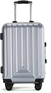 """Stylish and durable Wheels Travel Rolling Boarding,20""""24""""Inch 100% Aluminium Spinner Aluminium Convenient Trolley Case,Super Storage Luggage Bag, high quality (Color : Silver, Size : 24inch)"""