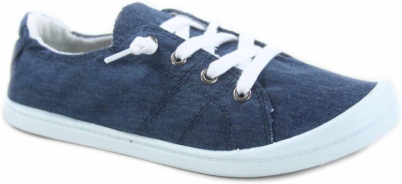 Soda Zig-s Women's Causal Flat Heel Slip On Lace up Look Sneaker shoes