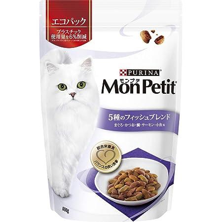モンプチ バッグ 5種のフィッシュブレンド キャットフード まぐろ・かつお・鯛・サーモン・小魚味 成猫用 600g