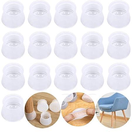 Protectores de patas de silla, de silicona, para patas redondas y cuadradas, protectores de suelo para muebles, evita arañazos y ruidos sin dejar marcas, 16 unidades transparentes