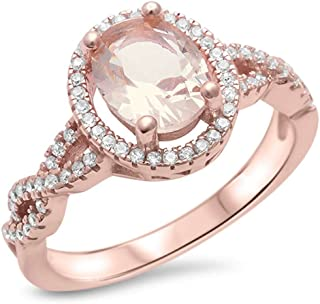 Sterling Silver Rose Gold Plated Champagne Morganite & Simulated Diamond AAA Cubic Zirconia Ring Sizes 4-11