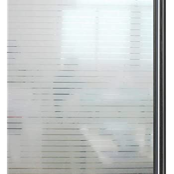 35.4 x 78.7 inch Qualsen Privacy Window Film Frosted Stripe Window Glass Films Non-Adhesive Static Cling Window Stickers for Meeting Room Home Office