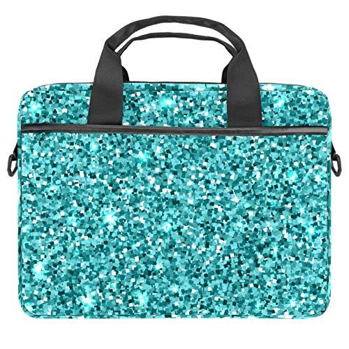 EZIOLY Blue Glitter Sequins Laptop Shoulder Messenger Bag Crossbody Briefcase Messenger Sleeve for 13 13.3 14 Inch Laptop Notebook Tablet Protect Tote Bag Case