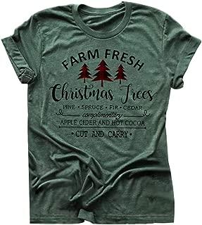 Christmas Tree Shirts for Women Farm Fresh Shirt Holiday Tee Short Sleeve Ladies Tops