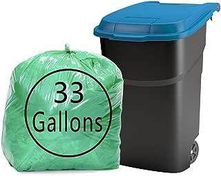 Kekow 33 Gallon Large Trash Bags, Green, 64 Counts
