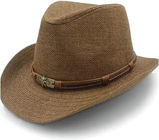 Wind 2019 Sun Hat Raffia Hat Summer Fashion Women's Jazz Men's Straw Hat Leather Braided Taro Punk Sun Hat` TuanTuan (Color : Coffee, Size : 56-58CM)