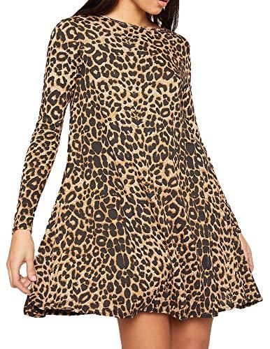 Re Tech UK - Damen Kleid - ausgestellte A-Linie - langärmlig - Midi-Länge - Leoparden-Print - 46