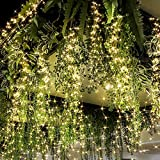 2pcs Christmas Tree Lights Bunch Lights 220LED 10Strands Vine Waterfall Hanging Twinkle String Lights with Remote Waterproof Copper Wire Battery Operated USB String Lights for Wedding Decor