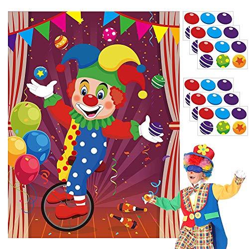 BeYumi 36Pcs Pin die Nase und Ball auf Zirkus Clown Poster, Karneval Kinder Party Aufkleber Spiel, Pin Spiele, Party liefert Zirkus Thema Geburtstags Party, Zirkus Thema Party zugunsten Versorgung