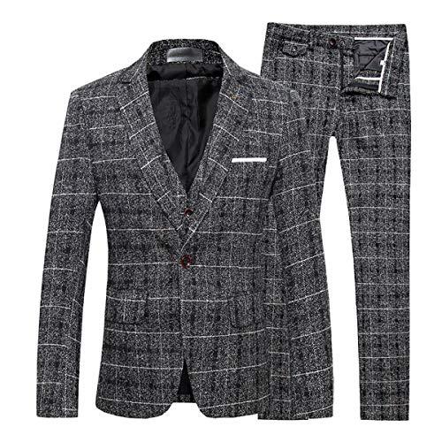 Heren Tweed Suits 3 Stuk Slim Fit Plaid Pak Bruiloft Tuxedos Prom Party Suit One-Button Herringbone Designer Check Vintage Blazer Jas Waistcoat Broek