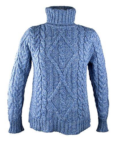 100% Irish Merino Wool Turtle Neck Aran Sweater by West End Knitwear, Wedgewood Blue, Medium