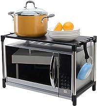 DJY-JY Flower Stand cocina for guardar objetos en bastidor de acero inoxidable multifunción horno de microondas estante de 2 niveles con 6 ganchos Negro Horno soporte de estante vertical en el suelo (