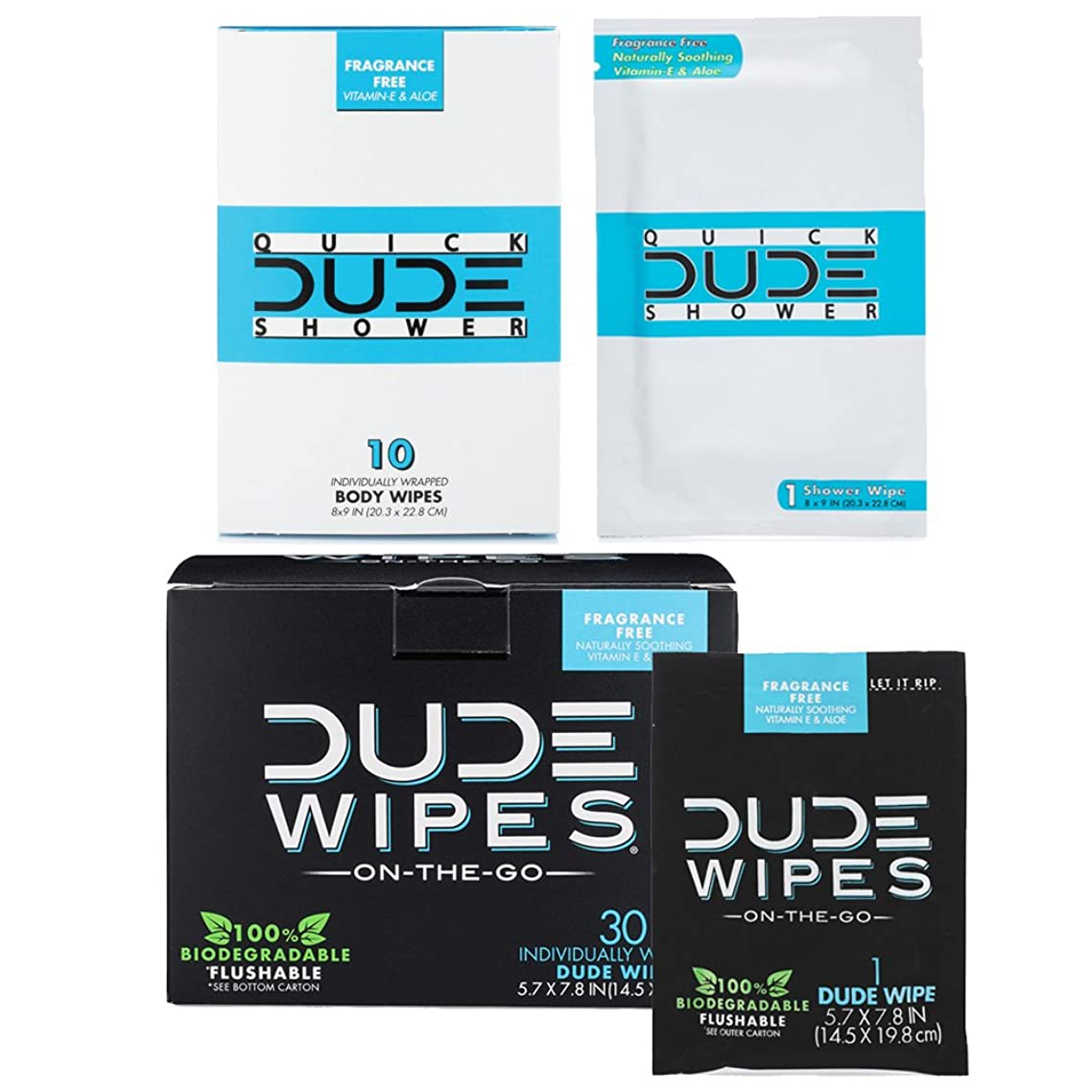 DUDE Wipes Flushable (30pk) & DUDE Shower Body Wipes (10pk) Unscented with Vitamin-E & Aloe Individually Wrapped Singles for Travel