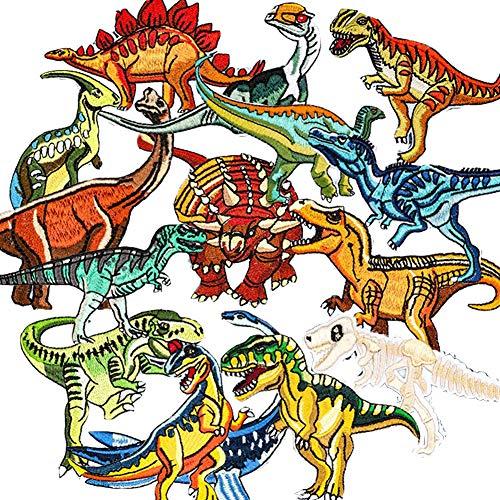 Bügelflicken Kinder, 15 Stück Patches zum Aufbügeln Dinosaurier Aufnäher Applikation Flicken Zum Aufbügeln für DIY T-Shirt Jeans Kleidung Taschen,Flicken Patches(A)