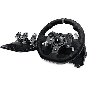 Logitech G920 Driving Force Gaming Rennlenkrad, Zweimotorig Force Feedback, 900° Lenkbereich, Leder-Lenkrad, Verstellbare Edelstahl Bodenpedale, Xbox One/PC/Mac - UK-Stecker, schwarz