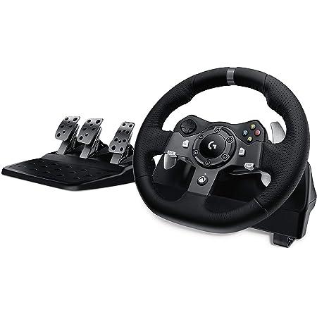 Logitech G920 Driving Force Volant de Course avec Pédales, Retour de Force, Palettes Volant Acier Inoxydable, Volant en Cuir, Rotation du Volant 900°, Prise EU, Xbox Series X|S, Xbox One, PC - Noir