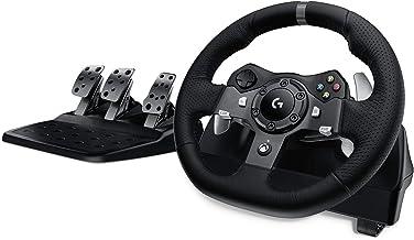 Logitech G920 Driving Force Gaming-racestuur, tweemotor, Force Feedback, 900 graden stuurbereik, lederen stuurwiel, verstelbare roestvrijstalen vloerpedalen, Xbox One/PC/Mac - UK-stekker, zwart