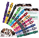 EXPAWLORER 12 Pack Puppy ID Collar - Whelping Collars for Puppies with Record Keeping Charts, Adjustable Identification Breakaway Safety Litter Collars with Bells for Newborn Small Dogs Pets