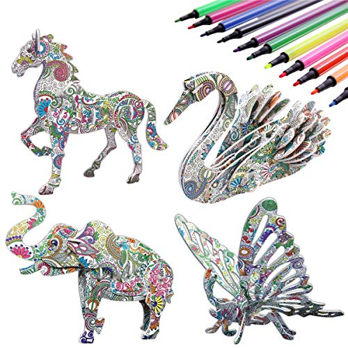 3D Coloring Puzzle Set,4 Animals Puzzles with 12 Pen Markers, Art Coloring Painting 3D Puzzle for Kids Age 7 8 9 10 11 12. Fun Creative DIY Toys Gift for Girls and Boy (Toy, 4PACK)