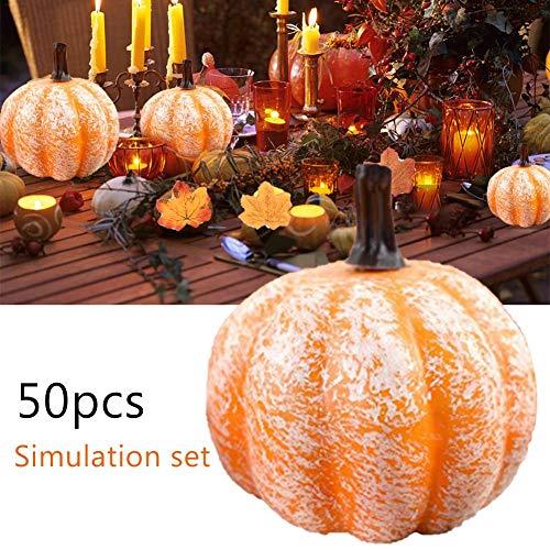 50 piezas Juego de calabazas artificiales Decoración de otoño artificial Juego de semillas de bellota de hoja de arce, piña, calabaza, calabaza para el otoño de Halloween