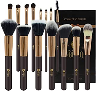 Makeup Brushes,FEIYAN Professional Makeup Brush Set Luxury Super Soft Bristles Synthetic Kabuki Face Foundation Concealer Stippling Blush Eyeshadow Eyebrow Brush Kit With Gift Box (15pcs Coffee Gold)