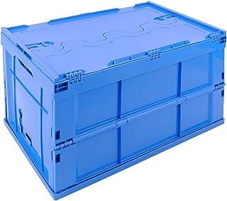 comprar comparacion PrimeMatik - Caja de plástico EuroBox Plegable y apilable. Contenedor Azul con Tapa 60x40x32cm 65L