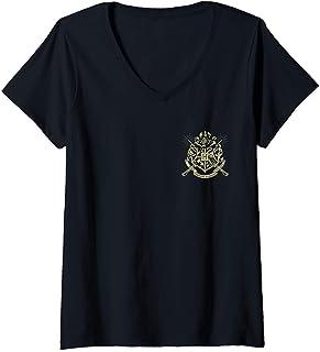 Femme Harry Potter Hogwarts Badge Wands T-Shirt avec Col en V