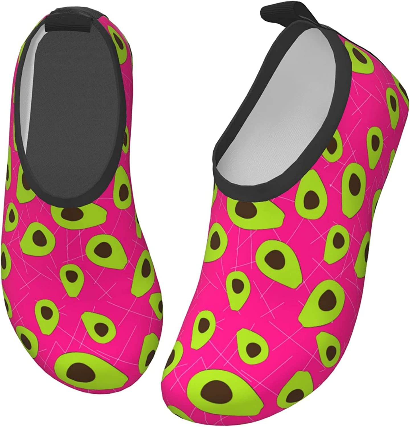 Jedenkuku Rose Red Avocado Pattern Cute Children's Water Shoes Feel Barefoot for Swimming Beach Boating Surfing Yoga