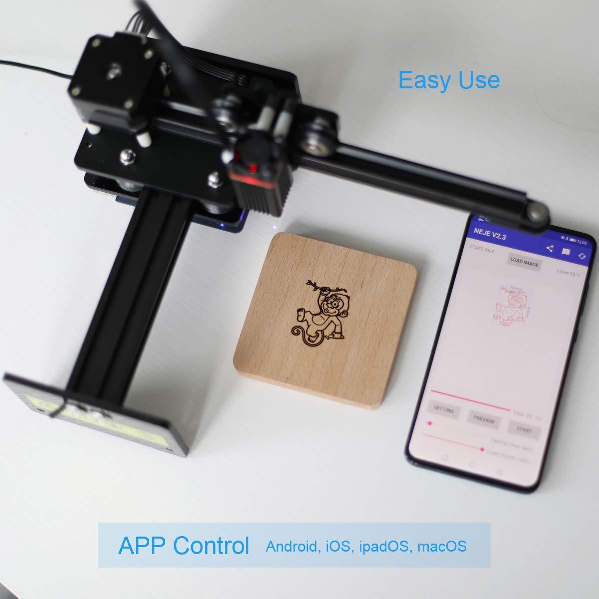 NEJE Graviermaschine im Freien oder in einer Tafel verwenden, Master 2 mini 10w Gravurpapier Gravieren von Holz f/ür Anf/änger einfach zu bedienen Gravurwerkzeuge