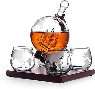 Light Edle Whisky Karaffe mit Whiskygläser Set aus Handarbeit | Decanter Whisky Set | luftdichter Verschluss | Glasskaraffe mit Whiskyglas für Whiskykenner mit Globus | 1000ml