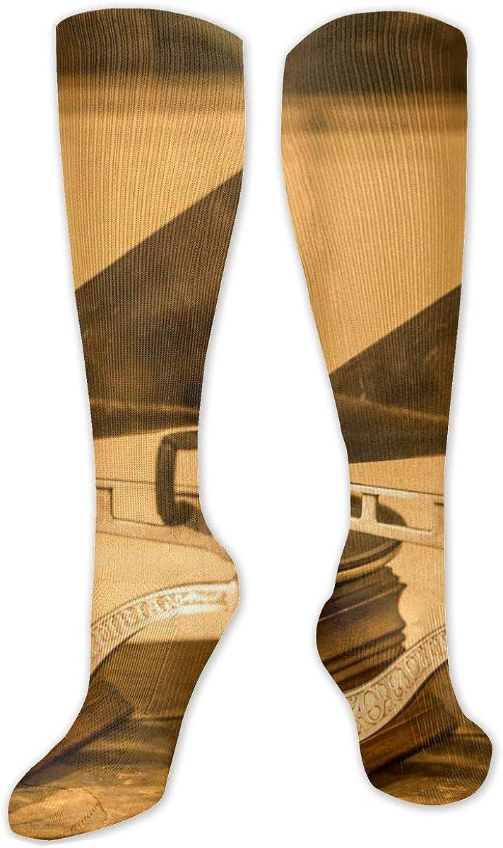 Retro Music Box Knee High Socks Leg Warmer Dresses Long Boot Stockings For Womens Cosplay Daily Wear