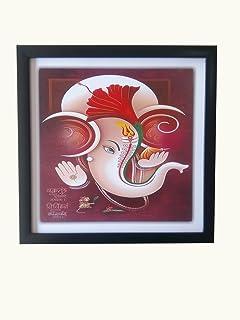 Shree Handicraft Special Effect UV Textured Lord Ganesh ji Painting Photo Frame for Living Room (32.5 cm x 32.5 cm x 1.5 cm)