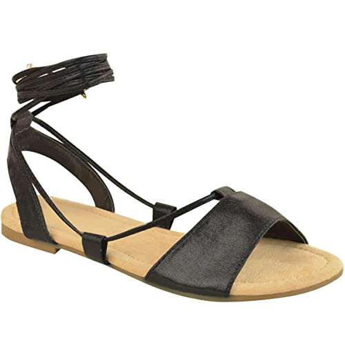 2885dc4a977 Fashion Thirsty Womens Ladies Tie up Gladiator Flat Sandals Strappy Summer  Metallic Shoes Size