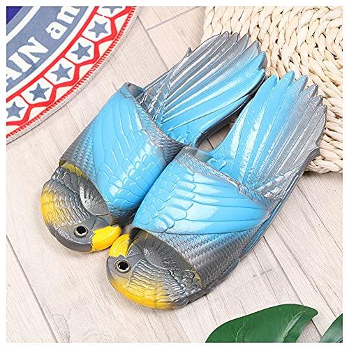 XIANWFBJ Chanclas Zapatillas,Zapatillas De Secado Rápido De PVC Loro Divertido, Chanclas De Moda De Verano para Niños, (Deslizante),Blue~Gray,32~33