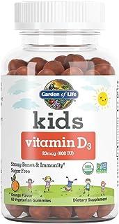 Garden of Life Kids Organic Vitamin D3 Gummies, Orange Flavor - 800 IU (100% DV) for Immunity & Strong Bones, Sugar Free O...