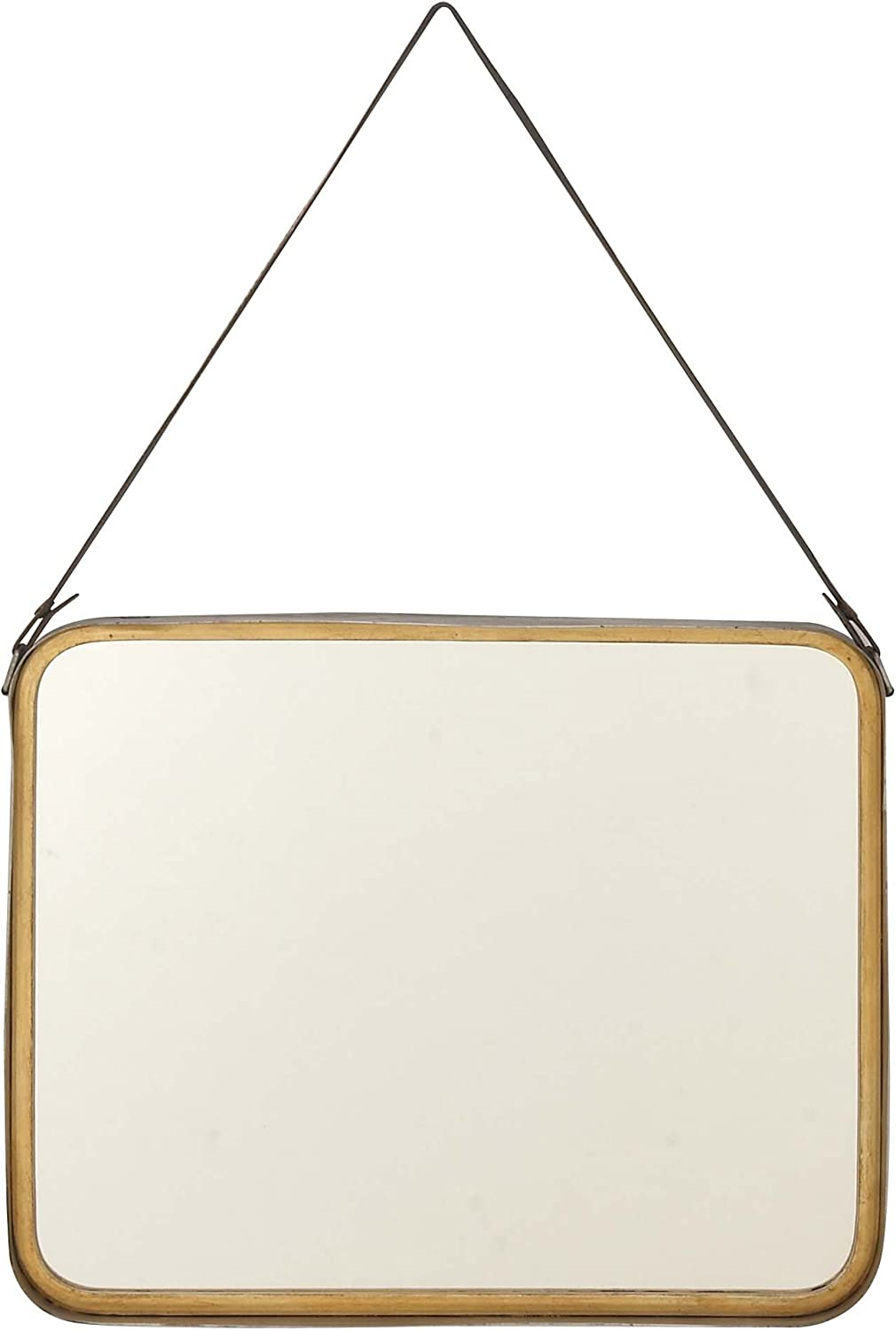 Deco 79 98731 Rounded Square Wooden Wall Mirror, gold Black
