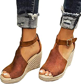 7e85a560178f Ru Sweet Women s Espadrille Wedges Sandals Peep Toe PU Belt Buckle Blocking  Adjustable High Platform Ankle