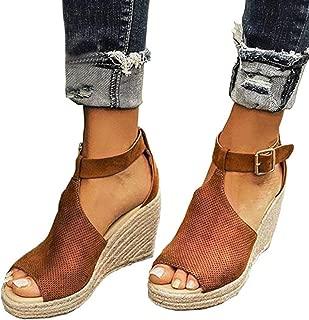 Women's Espadrille Wedges Sandals Peep Toe PU Belt Buckle Blocking Adjustable High Platform Ankle Strap Summer Shoes