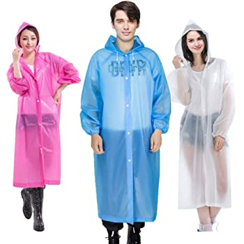Cleycye Rain Ponchos,EVA Reusable Rain Coat Jacket with Drawstring Hood (3PCS)Emergency Waterproof Rain Ponchos Family Pack for Adults,Fit Men and Women, Perfect for Concerts, Amusement Parks, Camping