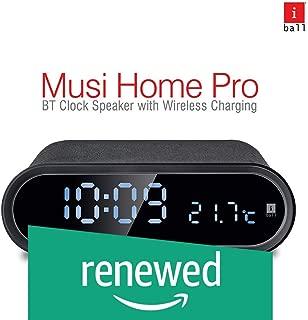 (Renewed) iBall Musi Home Pro Portable Digital Clock Bluetooth Speaker/Alarm/FM/Temperature Display with Wireless Charging (Black)