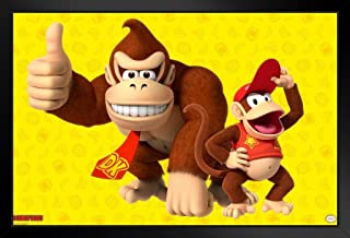 Pyramid America Donkey Kong and Diddy Kong Thumbs Up Nintendo Black Wood Framed Art Poster 14x20