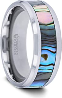 | Tungsten Rings for Men | Tungsten | Comfort Fit | Wedding Ring Band with Mother of Pearl Inlay - 8mm