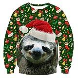RAISEVERN Unisex Feo de Navidad Decoración Pereza impresión gráfica de Navidad suéter suéter con Capucha para Mujer para Hombre