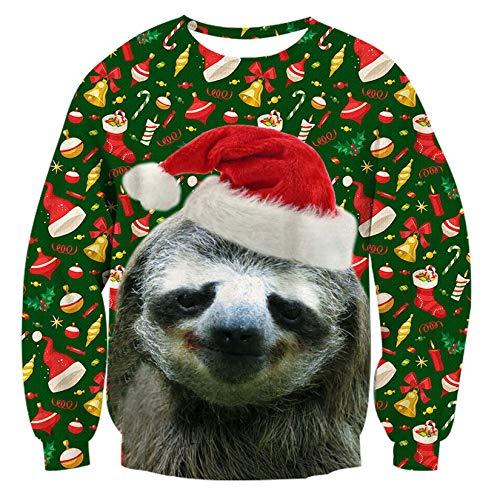 RAISEVERN Sloth Jumper, Unisex hässliche Weihnachts-Faultier-Dekoration drucken personalisierte Xmas Pullover Pullover Sweatshirt für Junge Mädchen