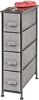 mDesign Narrow Vertical Dresser Storage Tower, Sturdy Steel Frame, Wood Top, Easy Pull Textured Fabric Bins, Organizer Unit for Bedroom, Hallway, Entryway, Closet, 4 Drawers - Black/Graphite Gray