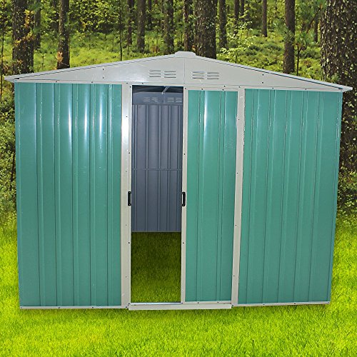 Panana 8x6FT Metal Garden Apex Roof Storage Shed Metal Flat Roof Shed Door at 8FT side