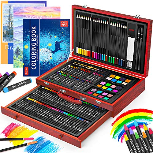 Art Supplies iBayam 150Pack Deluxe Wooden Art Set Crafts Drawing Painting Kit with 1 Coloring Book 2 Sketch Pads Creative Gift Box for Adults Artist Beginners Kids Girls Boys 5 6 7 8 9 10 11 12