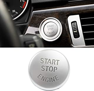Jaronx Chrome-plated Start Stop Button For BMW (E Chassis,1 3 5 6 X1 X3 X5 X6 Series),Engine Switch Power Ignition Start Stop Button Replacement-E Chassis Silver
