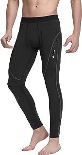 Mallas Running Hombre, Leggins Largas Elásticos Transpirables Secado Rápido, Pantalones Deportivos para Ciclismo Correr (Raya Negra/Raya Gris/Raya Roja) - S-3XL