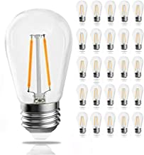 YUN-Link 25 Pack Dimmable S14 led Bulb, Waterproof 2700K Warm White Vintage Outdoor String Light Bulbs, 1.8W Shatterproof Screw E26 Base Edison Filament Bulbs